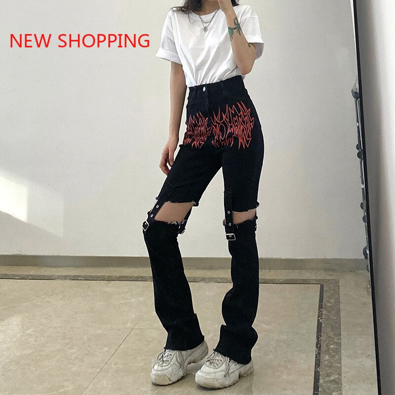 Hollow Out Cargo Pants Women Sexy Streetwear Trousers Elastic Waist Pant Female Fashion High Waist Pants Casual Trouser Gothic  - buy with discount