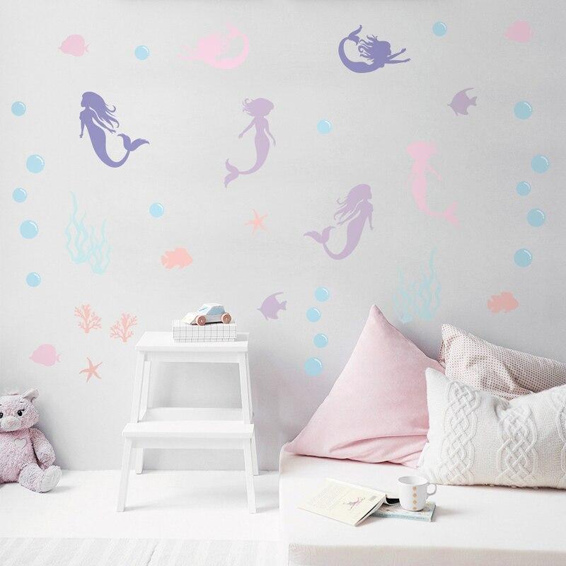 6 folhas/conjunto bonito sereia adesivo de parede brilhante colorido decalque da parede decoração bonito para a menina do bebê crianças quarto da criança decoração casa pa