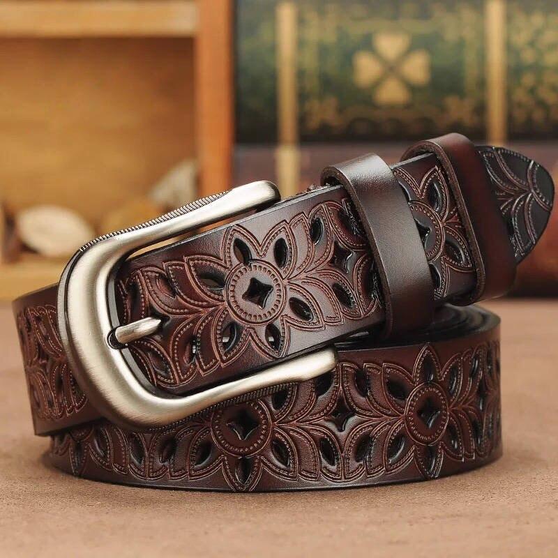 أحزمة جلدية حقيقية للنساء الطبقة الثانية جلد البقر امرأة حزام Vintage دبوس مشبك حزام الجينز