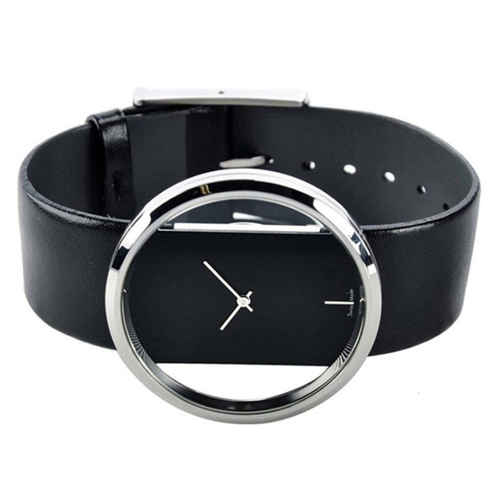 Transparent Hollow Silver Watch Women Bracelet Jewelry 6pcs Set Creative Designer Lady Watch For Woman Black Leather Wristwatch enlarge