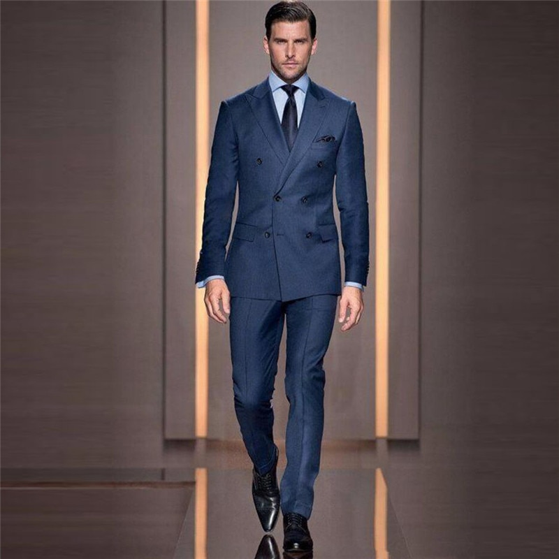 Italian Style Tailor Make Groom Tuxedos Double Breasted Slim Fit Mens Wedding Party Suits Bridegroom Suits Blazer (Jacket+Pant)