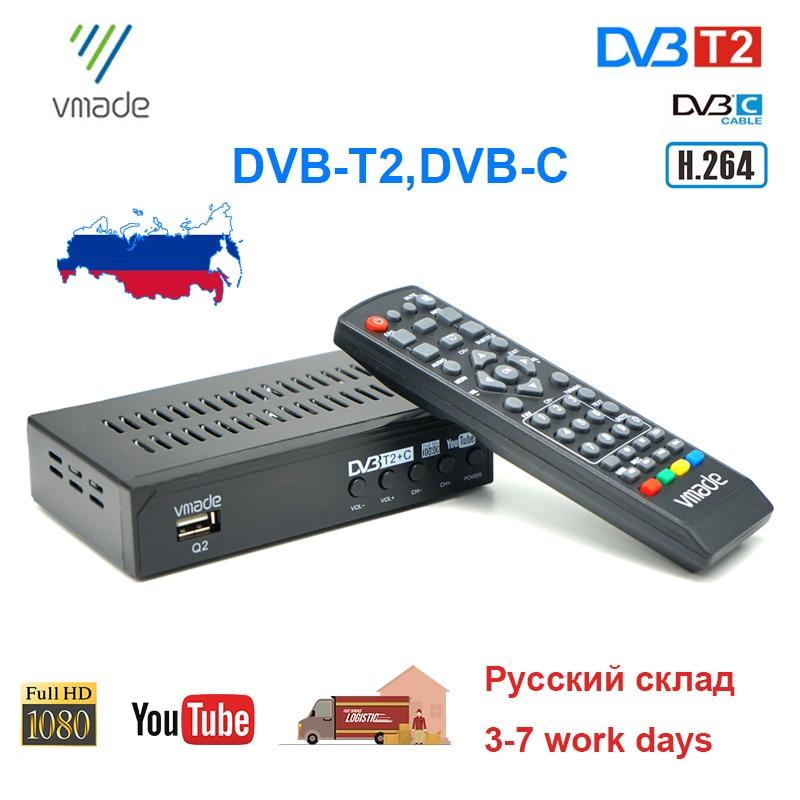 Russia Hot DVB T2 DVB-C TV Tuner Digital Terrestrial TV Receiver H.264 HD TV Decoder MPEG4 Support Youtube 2020 NEW Set Top Box недорого