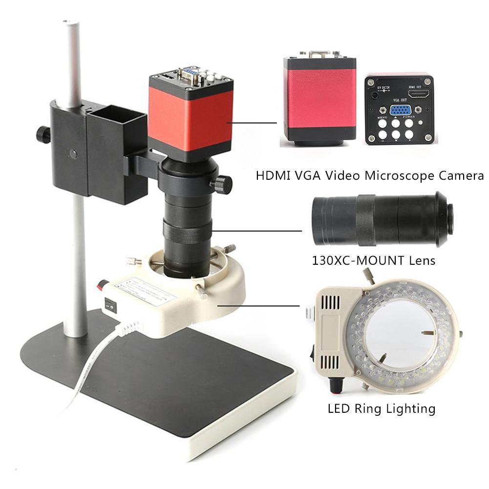 Conjuntos de Microscopio HD 13MP 60F/S HDMI VGA Cámara de Microscopio Industrial + lente de montaje 130X C + 56 LED Luz de Anillo para Reparación de Chip de Teléfono