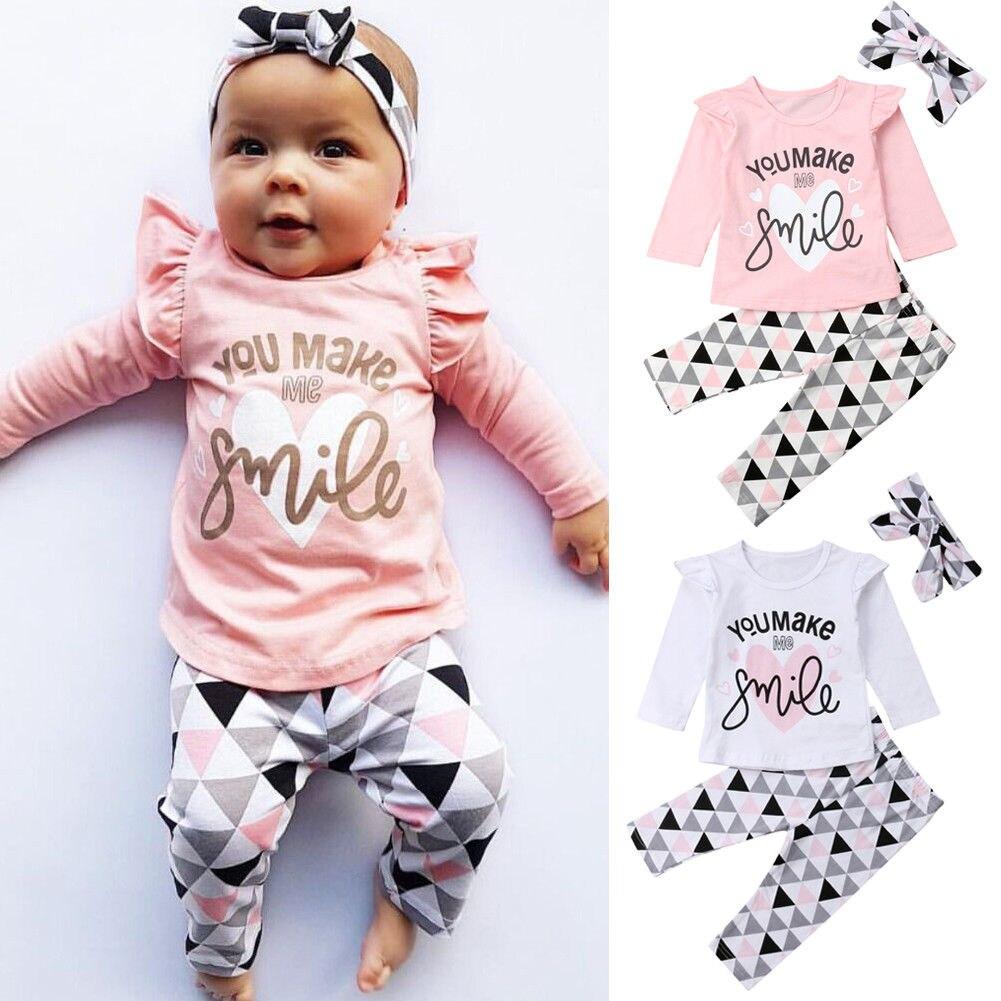 Otoño niña ropa Casual bebé recién nacido niñas Carters Fly manga camiseta conjunto de mallas conjunto ropa 0-24M