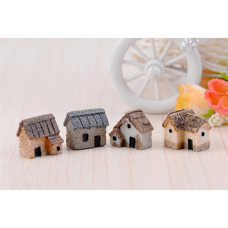 4 Uds jardín miniatura paisaje Micro pueblo casa de piedra casa miniatura casa de paja DIY terrario para bonsái artesanía