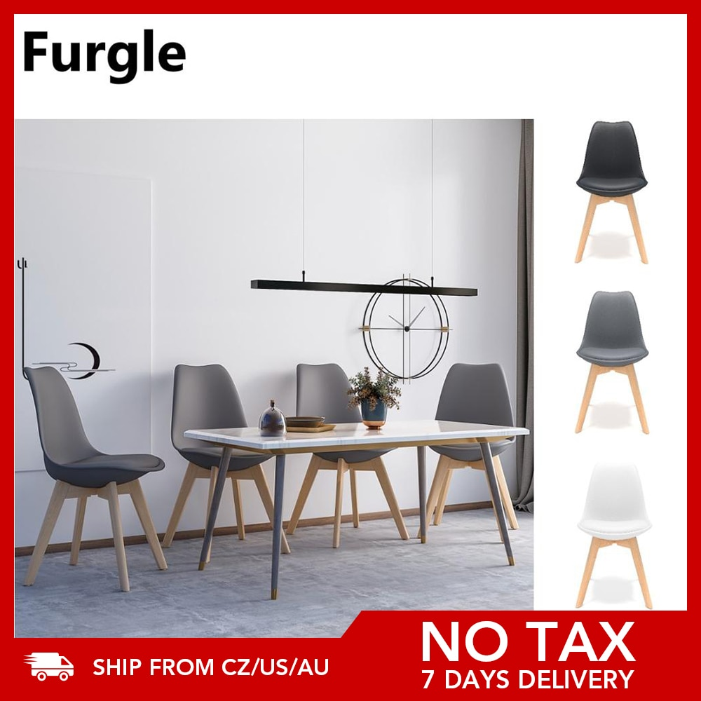 Furgle 4Pcs/Set Dining Room Chairs with Solid Beech Legs Plastic Upholstered Chair Wooden Kitchen Chairs Bar Chair Office Chair