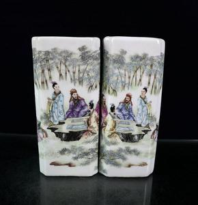 1 Pair Pastel Ancient Chinese Character Square Pen Holder Antique Collection Study Porcelain Ornaments
