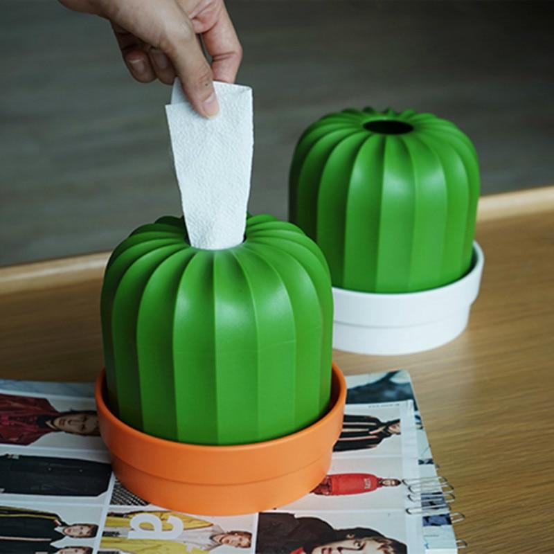 Caixa de tecido de plástico dos desenhos animados cactu dispensador de papel titular guardanapo recipiente rolo tubo de papel planta vaso de flores organizador do desktop