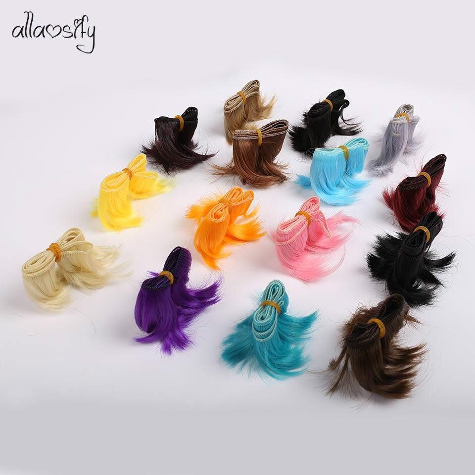 Allaosify 5cm * 100cm Peluca de BJD de pelo rojo negro SD Peluca de bricolaje para muñecas envío gratis