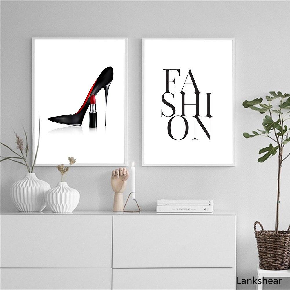 Cuadros rojo tacón alto moda y las huellas de la pintura de la lona de moda carta Pop Art para paredes Impresión de pared para SALA DE