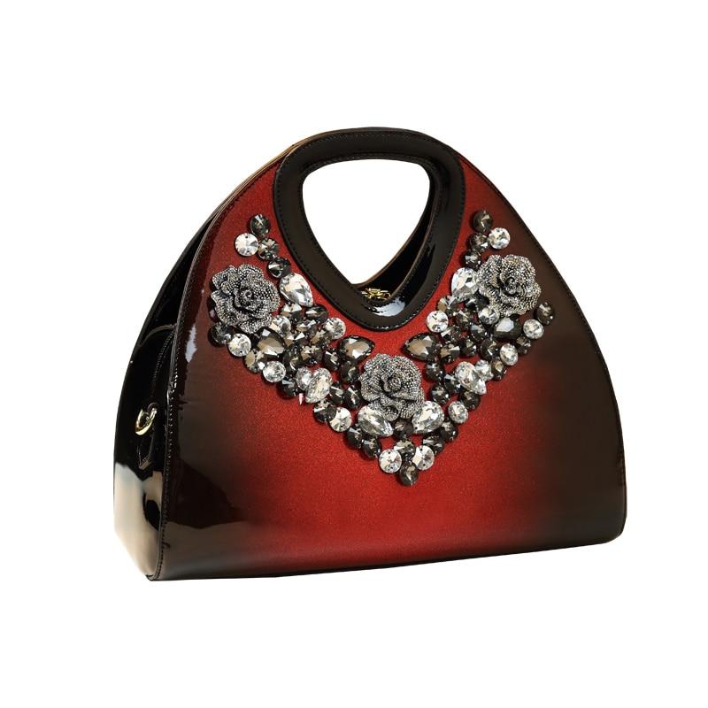 حقائب يد نسائية بمقبض علوي ، حقيبة كتف من الجلد اللامع ، ألماس ، ماركات مشهورة