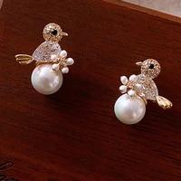 xiyanike exquisite trendy bird five petals pearl earrings flower plant animals stud earrings elegant short jewelry for women