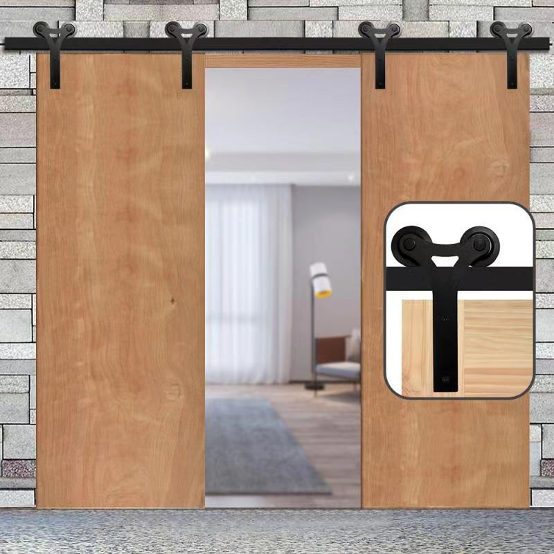 HACCER 1210-4840 مللي متر انزلاق الحظيرة الباب مجموعة أدوات Y-شكل الخشب الباب شماعات بكرة جنزير خزانة الأجهزة لباب مزدوج
