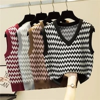 ljsxls vintage sleeveless v neck knitted vest sweater women 2020 autumn winter ladies loose casual striped tank top pullovers