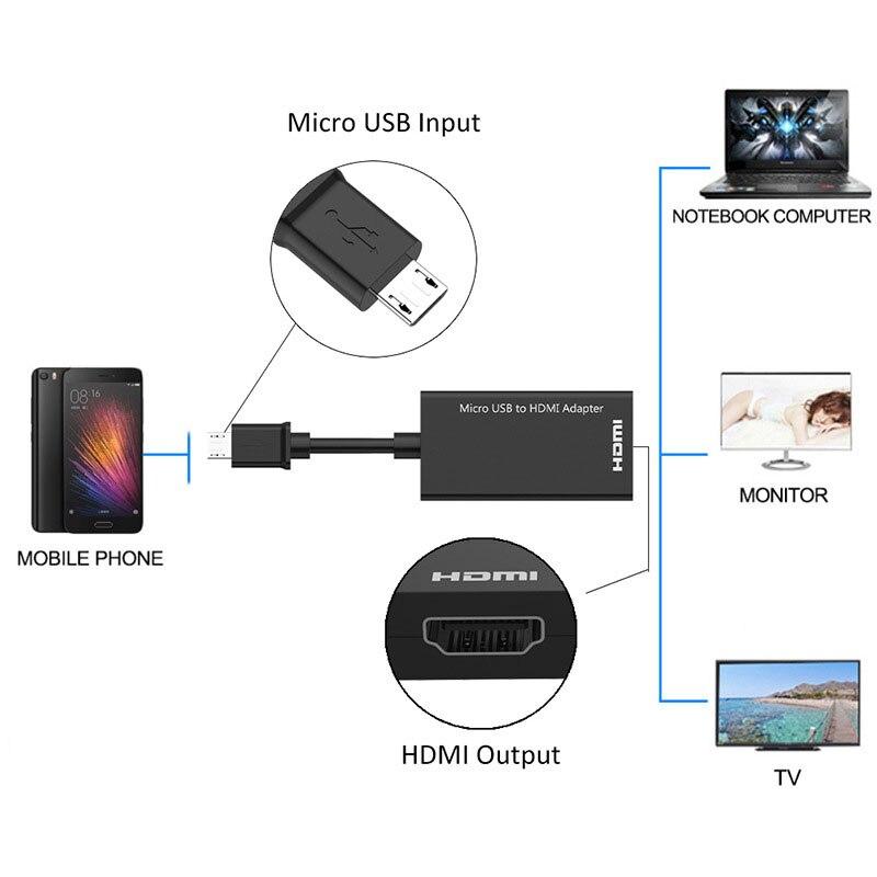 Micro USB MHL a HDMI, Cable HD 1080P para Samsung HTC LG Sony Huawei Asus P1/s, convertidor HDMI Android, adaptador de vídeo Micro USB