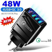 Машинка для стрижки 48 Вт 4 Порты адаптер QC 3,0 Quick Charge 3,0 USB Зарядное устройство по стандартам ЕС/США/с евровилкой зарядное Мобильный телефон бы...