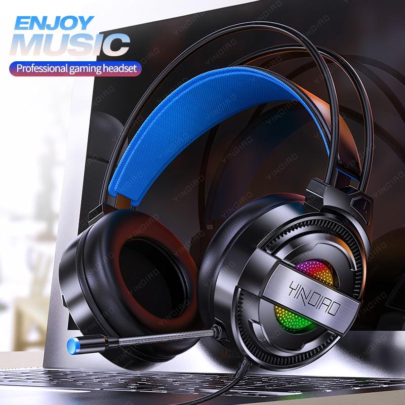 Fone de ouvido com fio gamer pc 3.5mm ps4 fones de ouvido surround sound & hd microfone jogos overear portátil tablet gamer