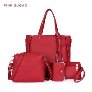 Pink Sugao 4PCS bags set luxury handbags women bags designer fashion shoulder bag leather crossbody bag for women Composite bags
