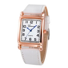Zegarek Casual Women Watches Faux Leather Strap Square Compact Digital Dial Watches Female Quartz An