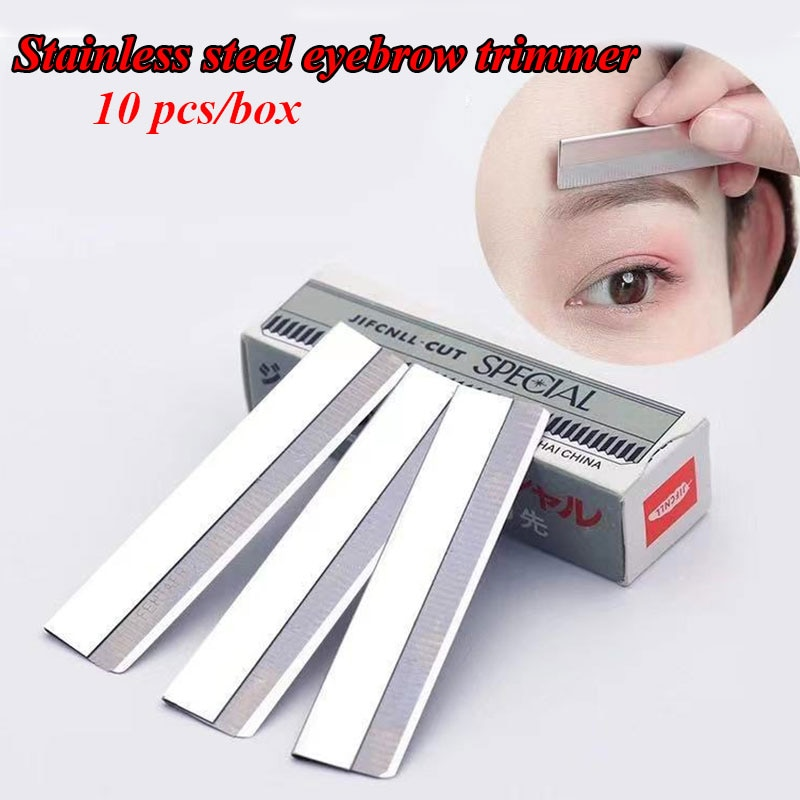 10pcs Eyebrow Trimmer Makeup Knife Scraping Shaver Eyebrow Razor Finishing Sharp Stainless Steel Hai