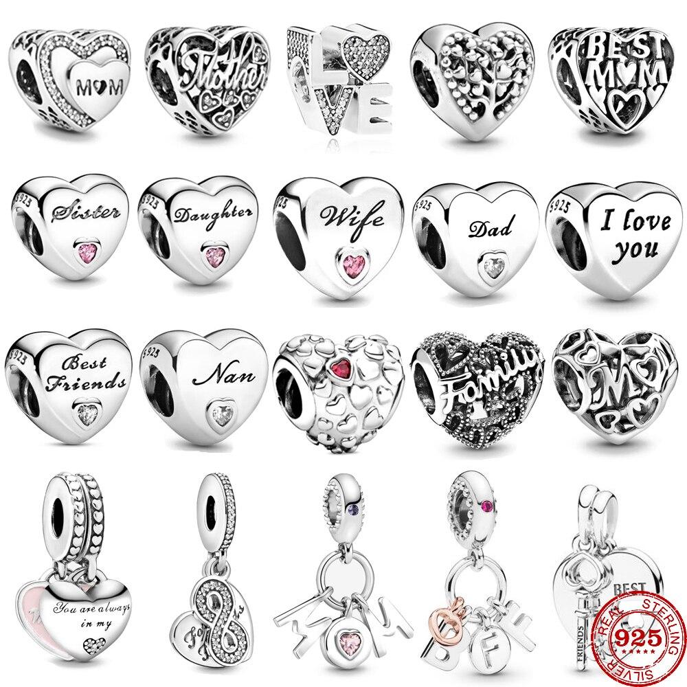Envío Gratis, amuleto de Amistad amor infinito familia, abalorio de corazón compatible con abalorios Pandora originales, pulsera de plata 925, joyería para mujer