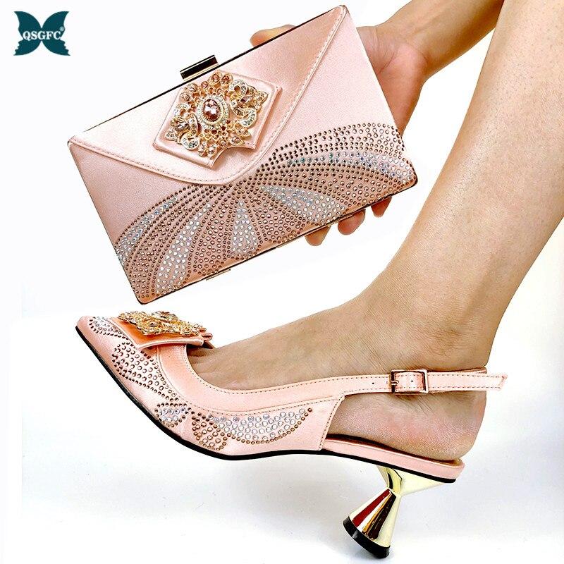 الخوخ اللون الأفريقي النساء حذاء وحقيبة مجموعة الايطالية تصميم الأفريقي النساء الأحذية الايطالية و حقيبة مجموعة ايطاليا الأحذية و حقيبة