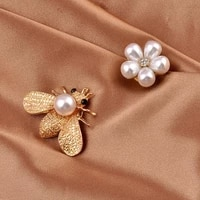 new fashion bee magnet brooch pearl rhinestone flower safe hijab no hole pins shirt scarf buckle brooches for women accessories