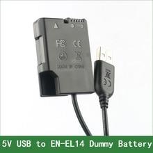 EN-EL14 EP-5A adaptador de batería ficticia enchufe DC Banco de la energía para Nikon D5600 D5500 D5300 D5200 D5100 D3500 D3400 D3300 D3200 D3100