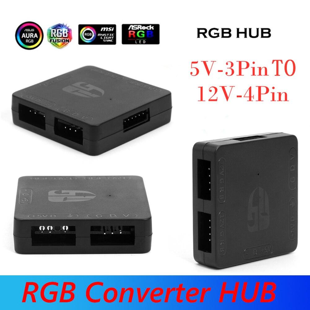 5V 3 Pin a 12V 4 Pin RGB CENTRO DE 5V a 12V placa base iluminación conversor RGB centro de la placa base de memoria del procesador conversor RGB HUB