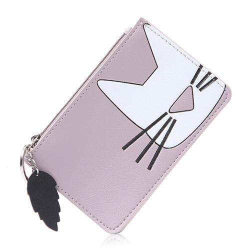 2019 Women's Cute Kawaii Cat Coin Purse Small Mini Ultra Thin Zipper Change Wallet Cards Keys Cash Bag Keychain Porte Monnaie