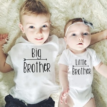 Little Big Brother Family Matching Boys  Romper Baby Boy Short Sleeve Jumpsuit Brothers Letter Print