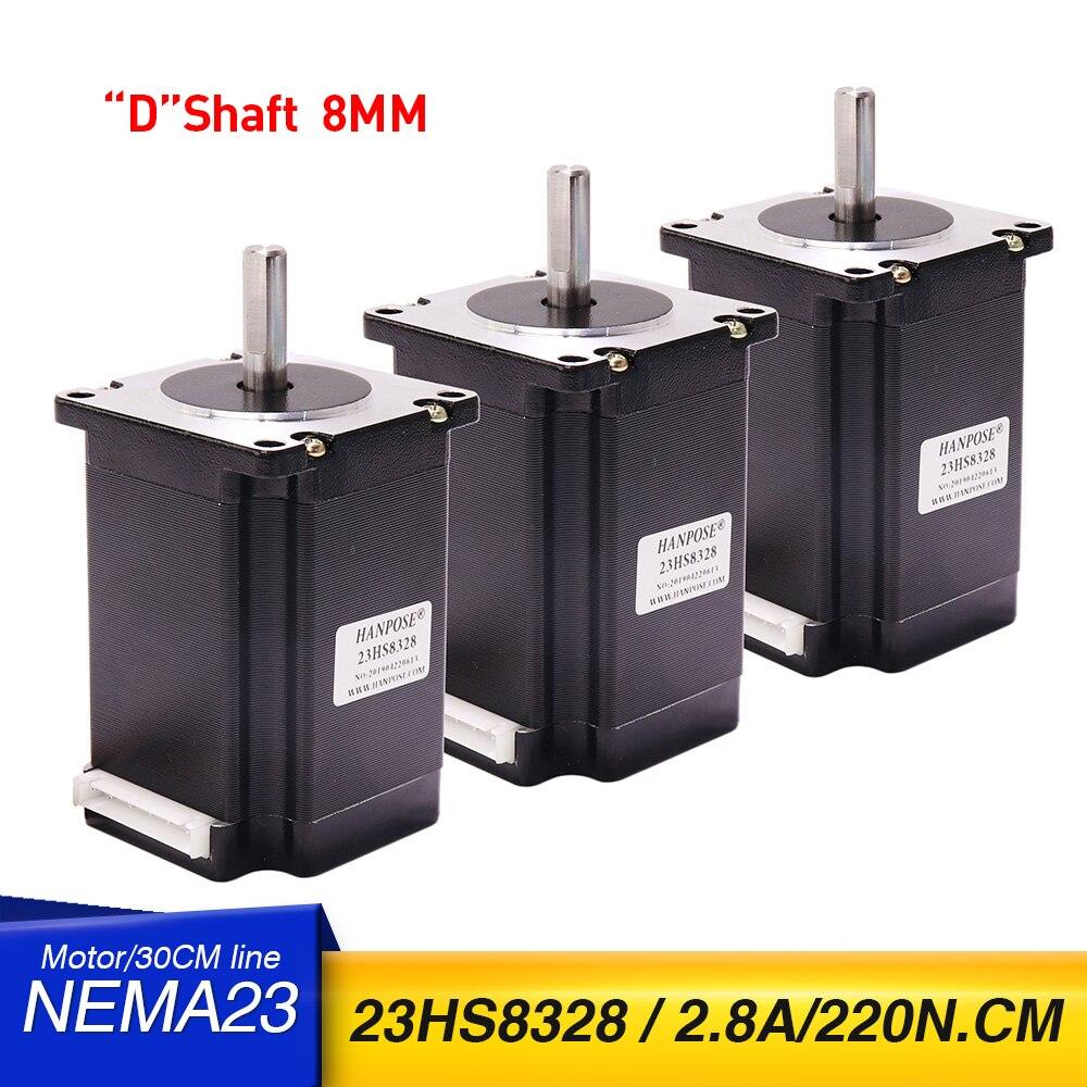 3 قطعة Nema23 محرك متدرج 220N.cm نيما 23 23HS8328 57X83MM ل 3D طابعة CNC آلة نقش بالحفر 12v محرك متدرج