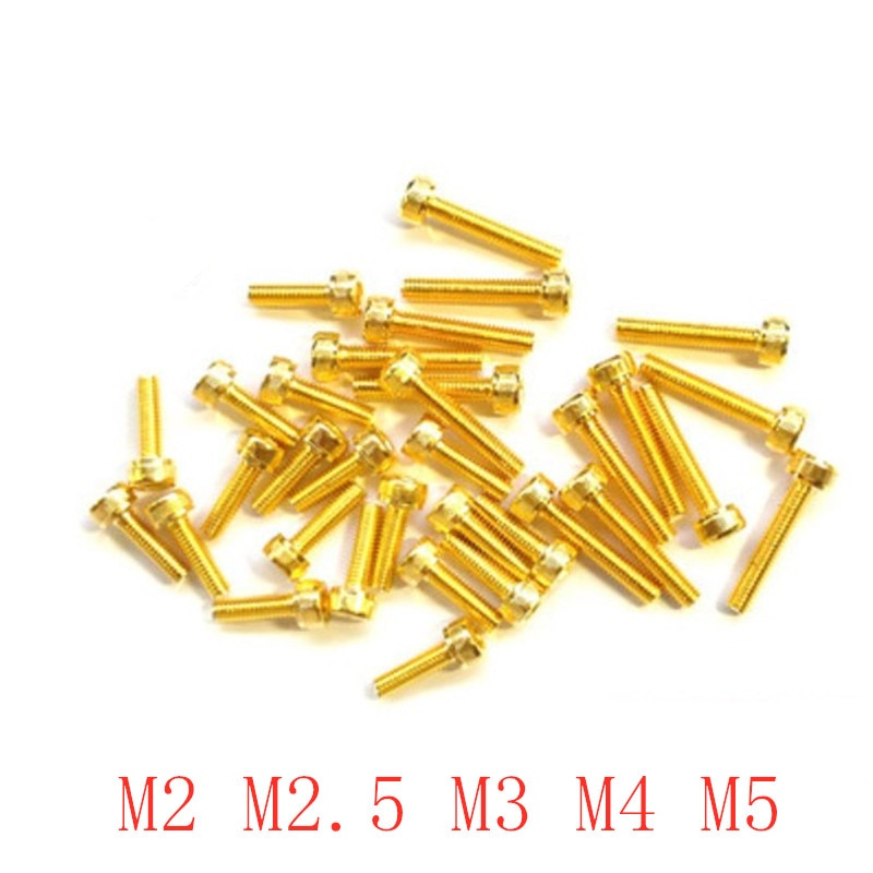 10-20 pces m2 m2.5 m3 m4 m5 allen parafuso hex soquete serrilhado tampão copo cabeça parafuso titânio banhado a ouro parafusos comprimento 4-55mm