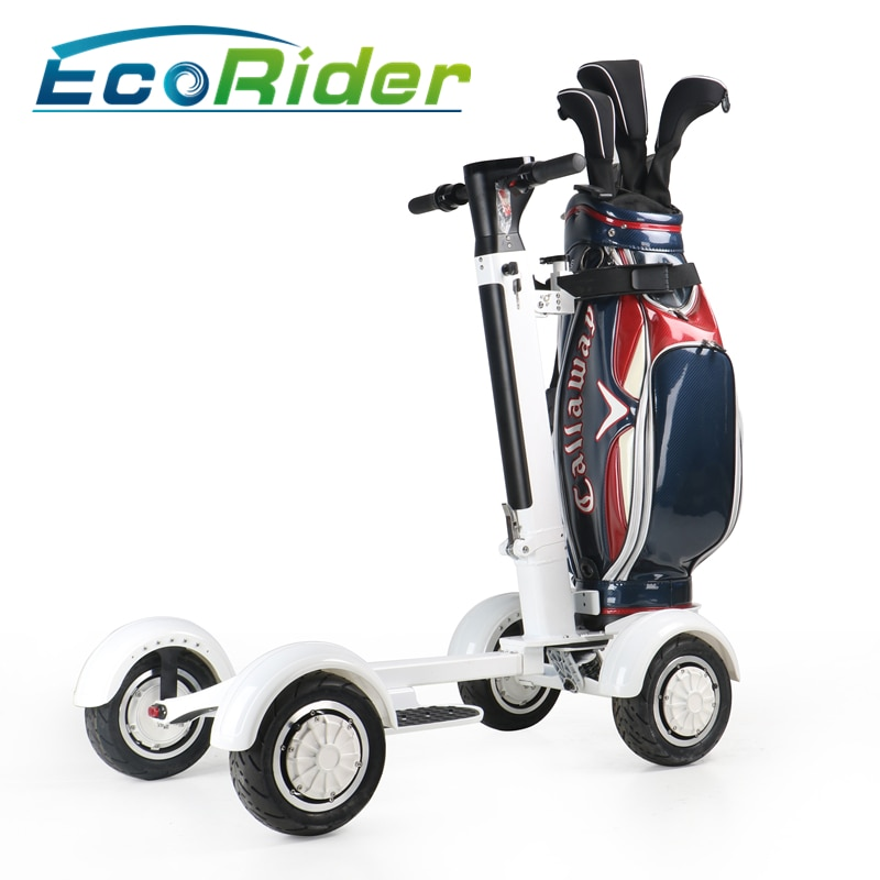 Easy Folded Four Wheels Electric Golf Buggy 4 Wheel Golf Cart Scooter 10 Inch 1000w Fat tire Golf Carts With Replaceable battery