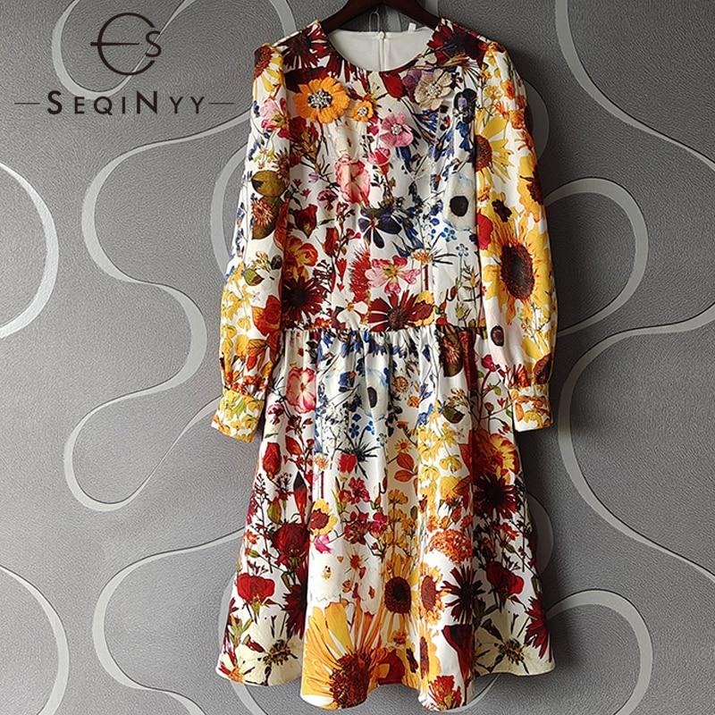 SEQINYY فستان فاخر ربيع الخريف موضة جديدة تصميم المرأة المدرج عالية الجودة الديكور يزين الزهور طباعة خمر الركبة