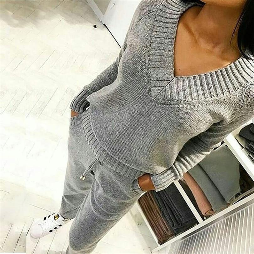 Taotrees Vrouwen Gebreide Kostuum V-hals Wol Warme Truien Suits Lange Mouwen Trui Aantrekken Elastische Taille Broek 2 Stuks Set