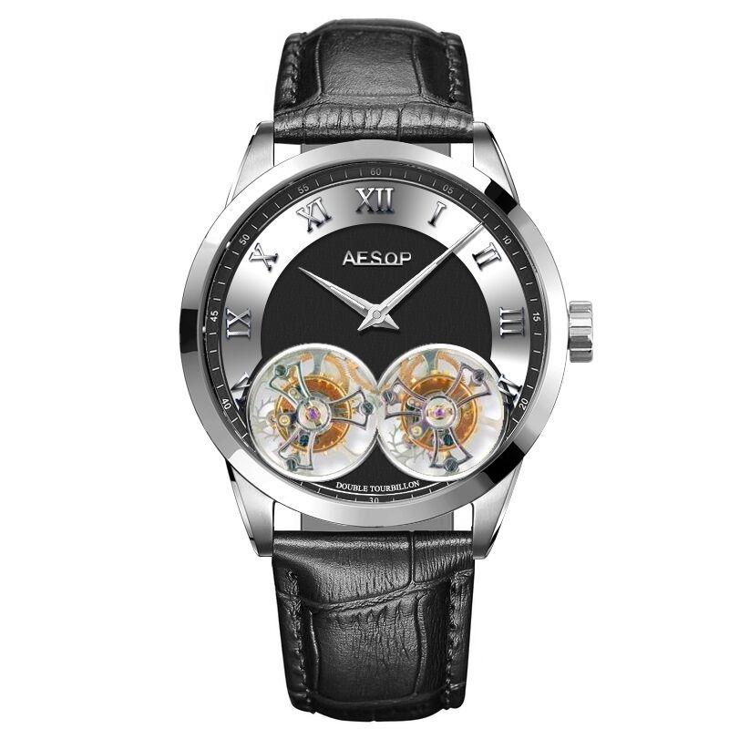 Luxury Tourbillon Watch Aesop Double Tourbillon Movements Mechanical Two Sides Sapphire 100M Waterpr