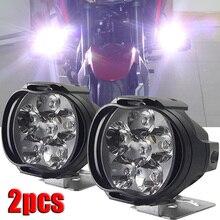 Faro auxiliar LED para motocicleta, lámpara para vehículo, 6 luces LED auxiliares, brillo, luz eléctrica para coche, 2 uds.