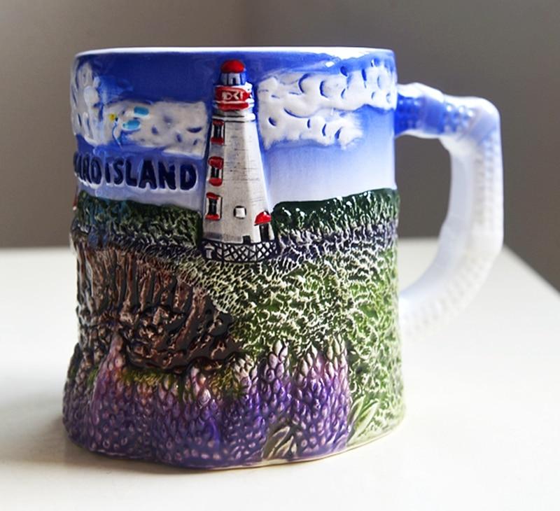 رسمت باليد جزيرة الأمير إدوارد ، كندا السيراميك أكواب مياه الحليب أكواب العالم السفر تذكارية أكواب المنزل مكتب درينكوير هدية