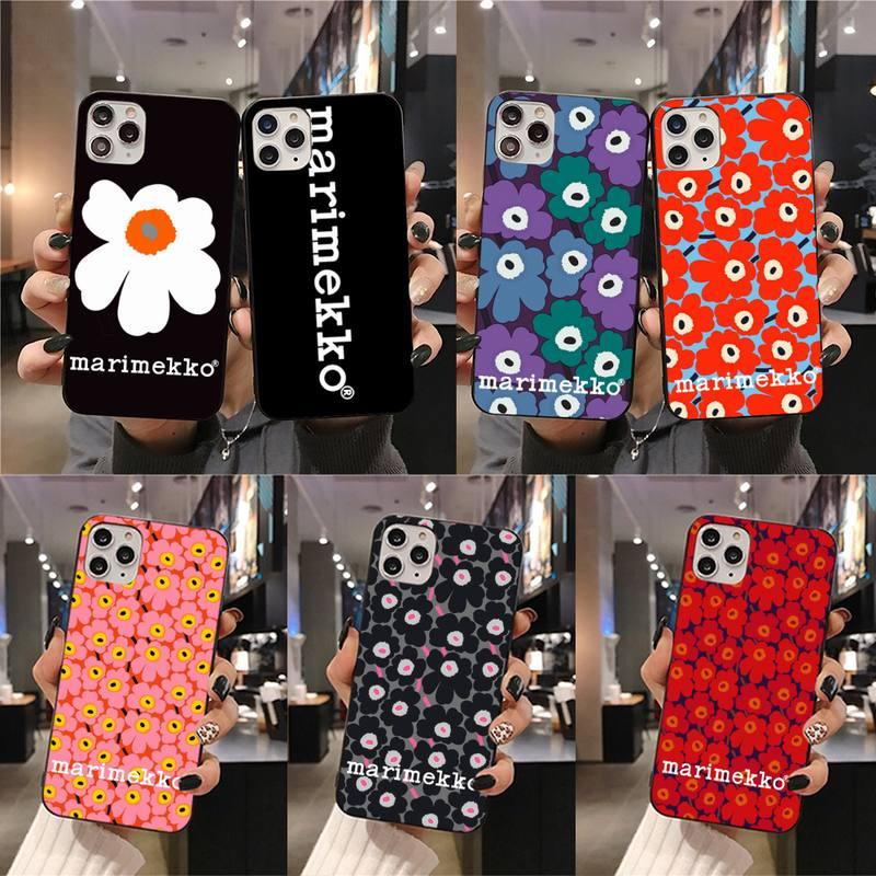 Funda de teléfono de marca flor marimekko para iPhone 11 pro XS MAX 8 7 6S Plus X 5S SE 2020 XR