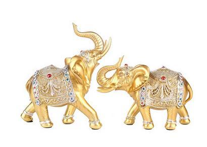 1 pair elephant handicraft tallow handicraft Thailand Southeast Asia couple elephant home decoration gift porch table decoration