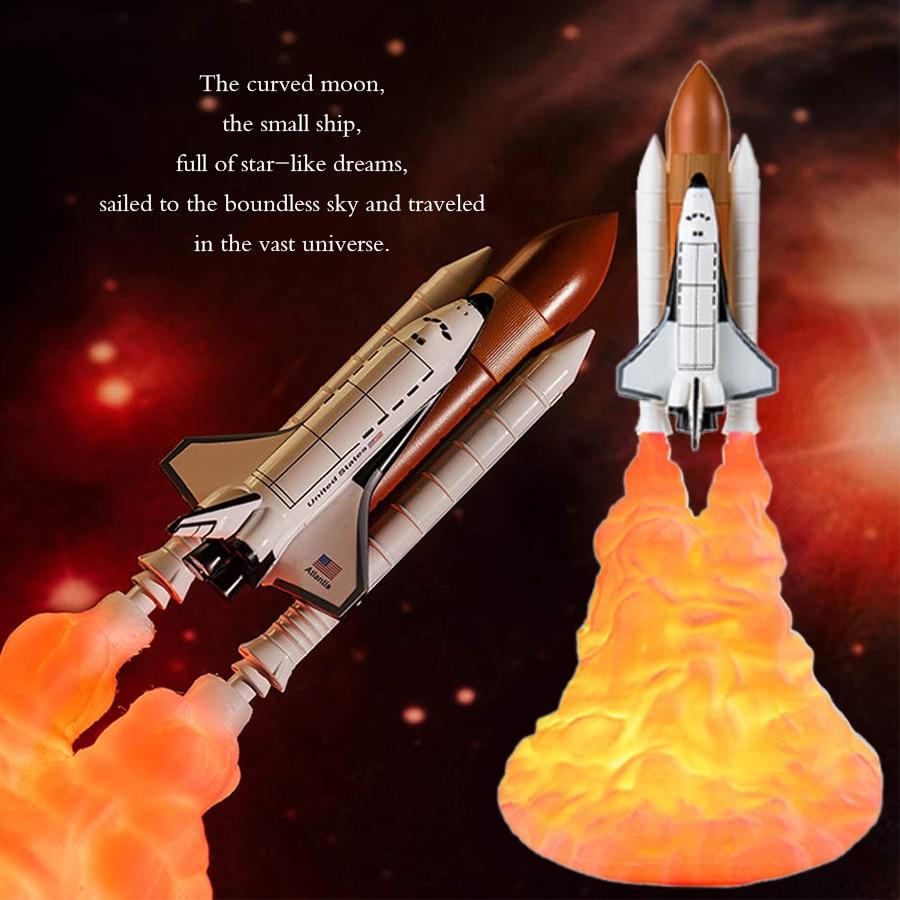 EeeToo ثلاثية الأبعاد طباعة صاروخ مصباح LED ضوء الليل USB قابلة للشحن الفضاء المكوك مصباح ل عاشق الفضاء الجدول غرفة نوم ديكور المنزل