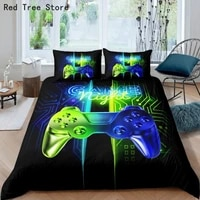 gamepad printed bedding set kids boy adult cartoon game duvet cover pillowcase set 23pcs twin full size home textile bed lines