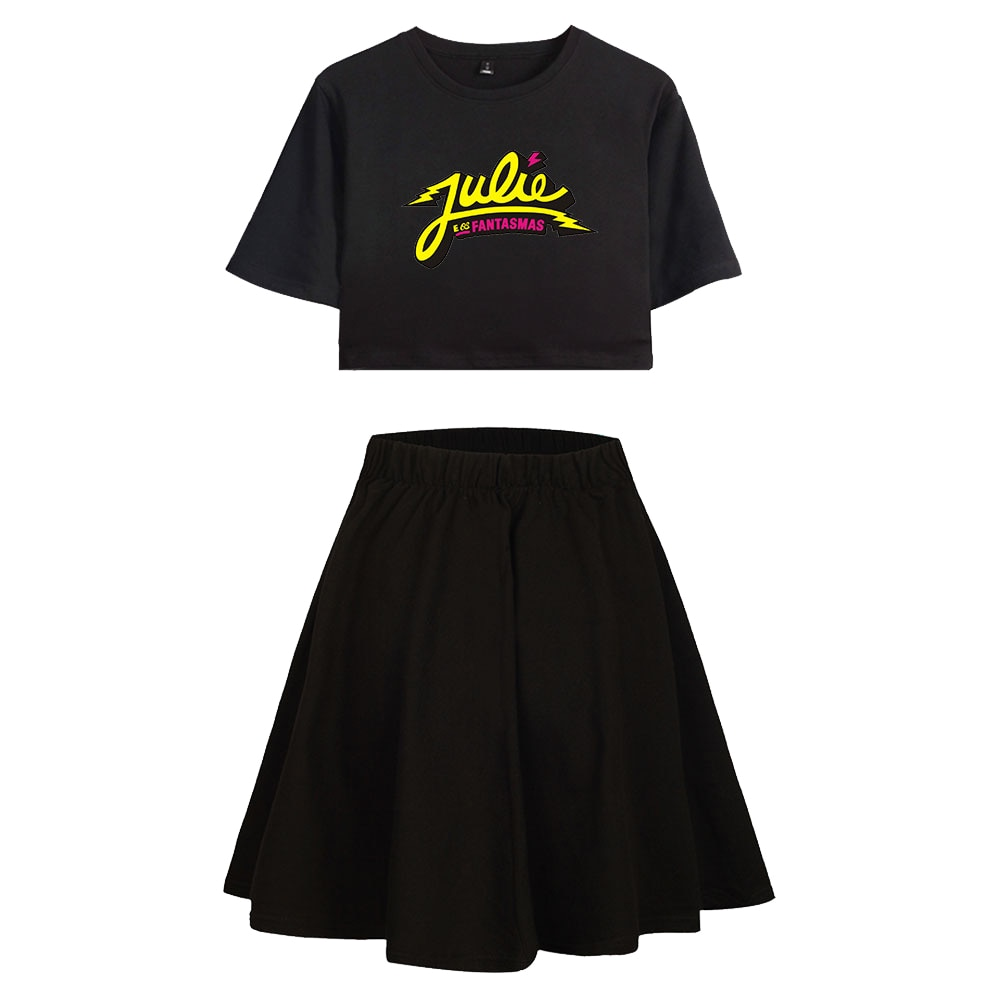 New Julie and the Phantoms Women's Two Piece Set Short Sleeve T-shirt Crop Top + Skirt Streetwear Girl Outfit Ladies Summer Sets