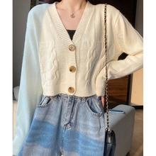 Cardigan Sweater Spring And Autumn New 2021 Sweater Coat Women's Long Sleeve Short V-neck Cardigan