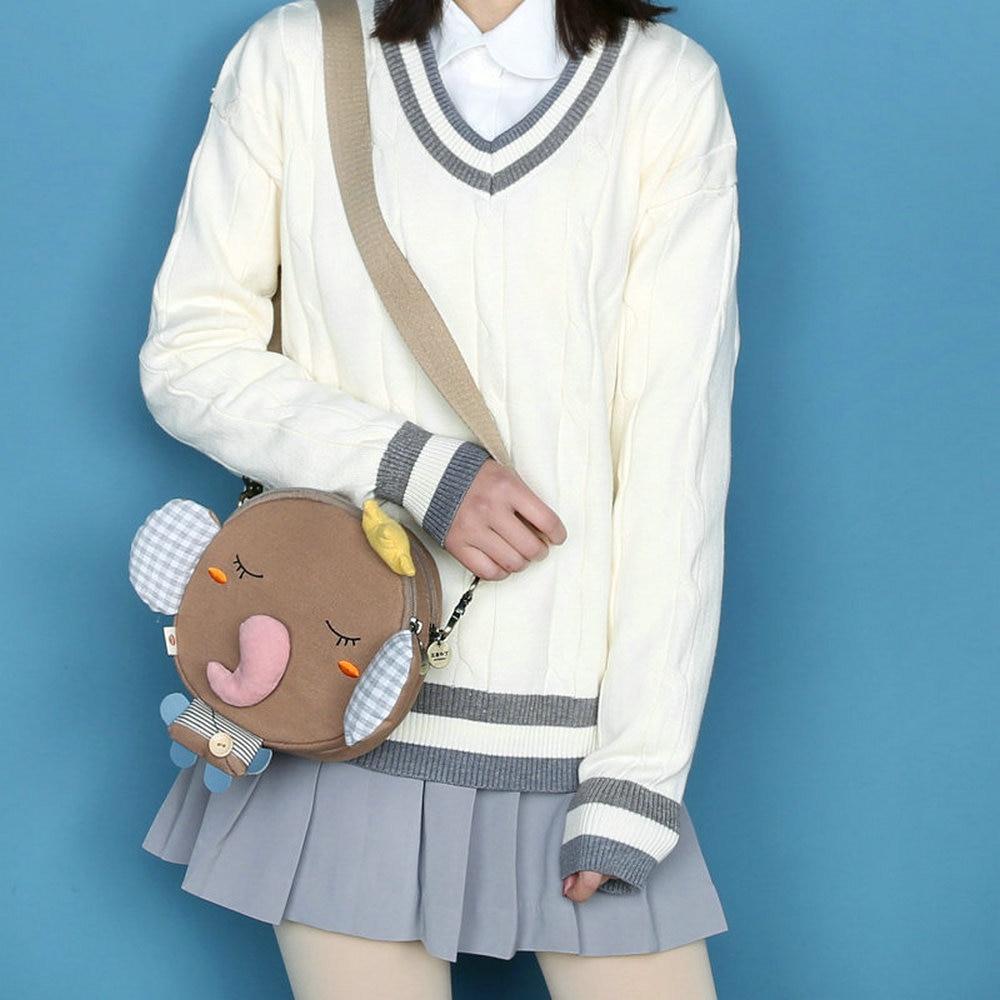 Funny Mini Cartoon Animal Elephant Lion Canvas Shoulder Bags Fashion Cloth Crossbody Bag Phone Casual Girls Student Purse Bolsa