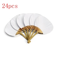 Hot 24Pcs/Lot Pai pai bambu painting blank group fan Wedding White Paddle Fan For Wedding Decoration Drop shipping