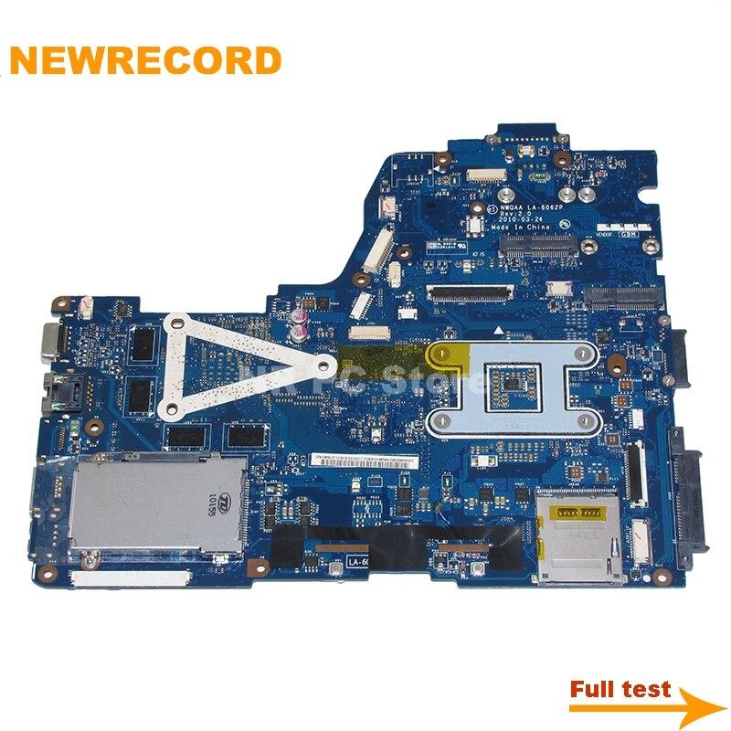 Купить с кэшбэком NEWRECORD NWQAA LA-6062P K000104390 For toshiba satellite A660 A665 Laptop motherboard GeForce GT330M GPU free CPU main board