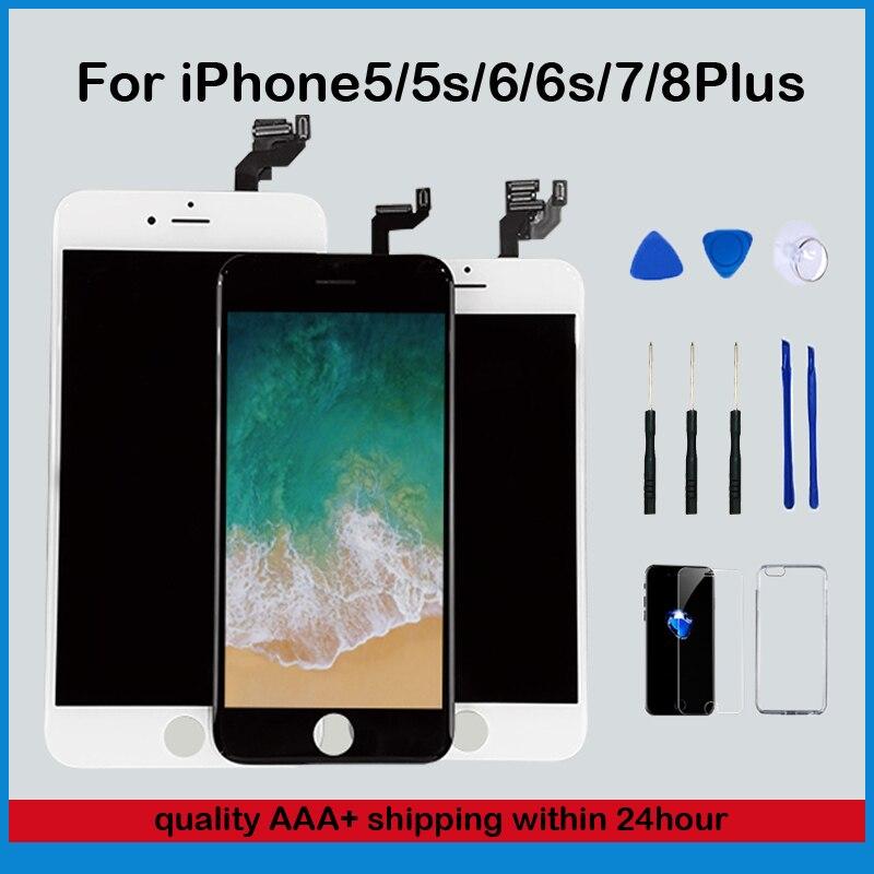 AAA + آيفون 6 6s 7 8 Plus LCD عرض اللمس 7Plus استبدال الشاشة ل iPhone5s lcd لا الميت بكسل الزجاج المقسى أدوات