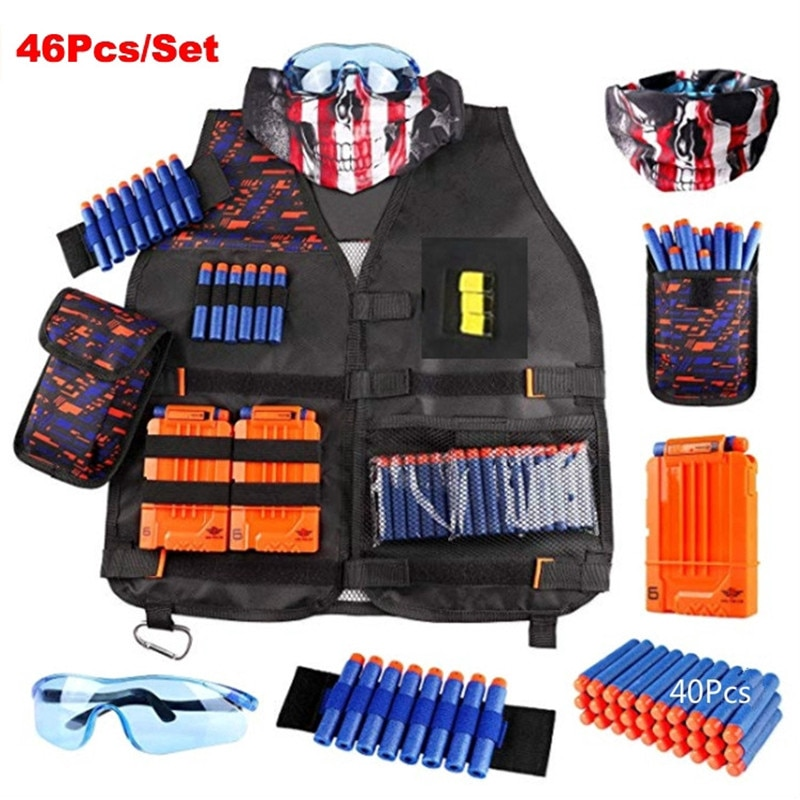 modified part front tube sighting device for nerf elite series orange grey 46Pcs/set Kids Tactical Vest Kit for Nerf N-strike Elite Series